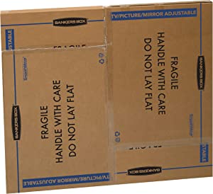 Bankers Box SmoothMove TV/Picture/Mirror Moving Box, Adjustable, 40 x 60 x 4 Inches, 3 Pack (7711401), Kraft