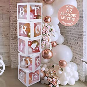 Bridal Shower Decorations Balloon Boxes White- 96pcs Transparent Block with BRIDE TO BE + GROOM + A - Z Letters and 40 Balloons- For Engagement, Bachelorette Parties, Weddings, Centerpieces Photo Booth Props