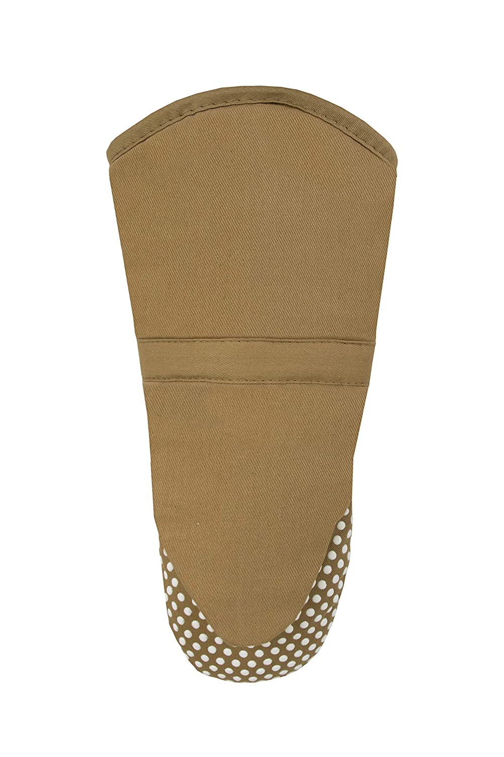 RITZ Royale Cotton Twill Puppet Oven Mitt with Silicone Dot Non-Slip Grip, 13-inch, Mocha Brown
