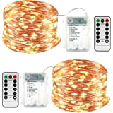 Lyhope 2 Pack Fairy Lights, Battery Operated Waterproof 8 Modes with Remote Control 33ft 100 Led Copper Christmas String Ligh