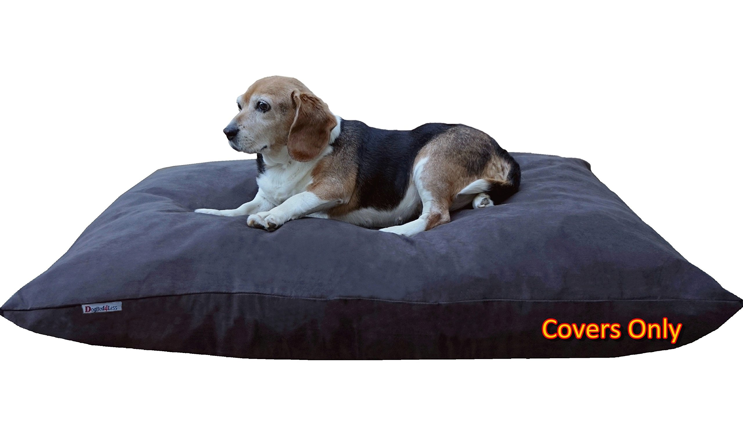 Dogbed4less Do It Yourself DIY Pet Bed Pillow Duvet Suede Cover + Waterproof Internal case for Dog/Cat at Large 48''X29'' Espresso Color - Covers only