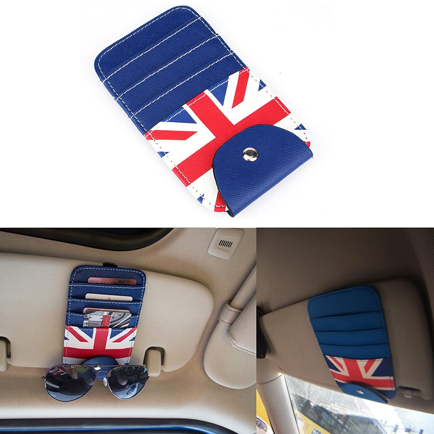 TTN Union Jack Car Sun Shade Visor Slot Card Bag Pocket Pouch Holder Case For Mini Cooper F55 F56 R50 R52 R53 R55 R56 R60 R61