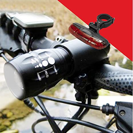 2x CREE Q5 LED Mountain Bike Bicycle Cycle Head Front Al alloy Rear Lights