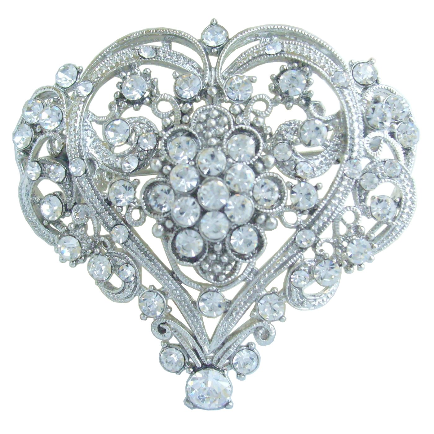 Sindary Wedding 2.17'' Love Heart Brooch Pin Clear Austrian Crystal Pendant BZ4640
