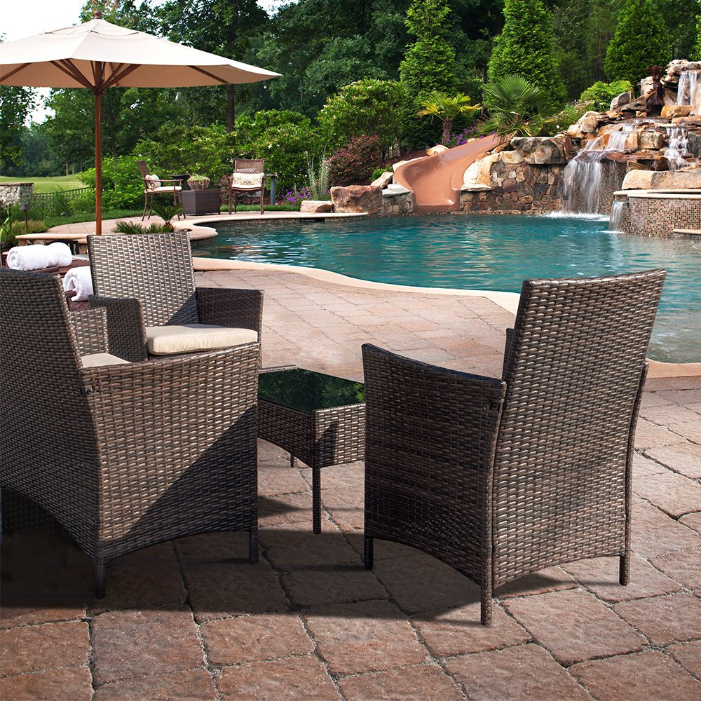 b3da97ba16f Devoko Patio Porch Furniture Set 3 Piece PE Rattan Wicker Chairs Beige  Cushion with Table Outdoor ...