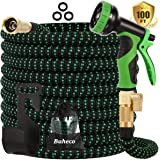 Buheco Expandable Garden Hose 100ft-Water hose with 9 Function Spray Nozzle and Durable 4 Layers Latex-3/4'' Solid Brass…