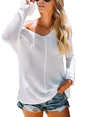 Womens Oversized V Neck Sweaters Off The Shoulder Loose Pullover