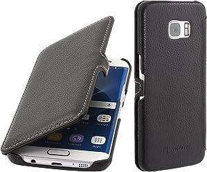 StilGut Book Type Case con Clip, custodia in pelle per Samsung Galaxy S7 edge, Nero
