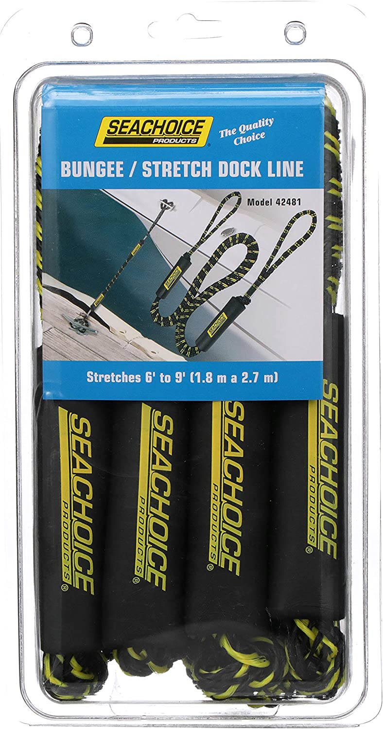 6 Feet Long Stretches to 9 Feet SEACHOICE 42481 Bungee//Stretch Dock Rope for Boating One Size Pack of 2 Lines