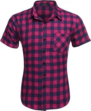 Wixens Camisa Casual a Cuadros para Hombres Manga Corta Verano Clásico Rosa Talla-XXL: Amazon.es: Ropa y accesorios