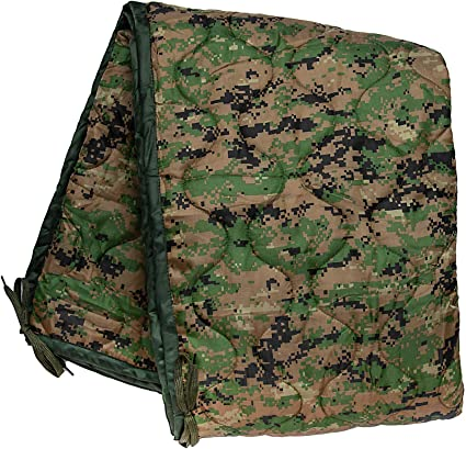 Army Military Dutch Poncho Liner Quilted Picnic Blanket Woobie Woodland Camo