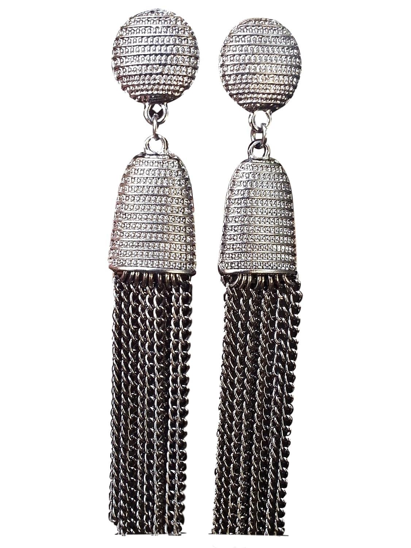 Luxurious Long Hanging Metal Chain Fringe Dangle Tassel Drop Earrings