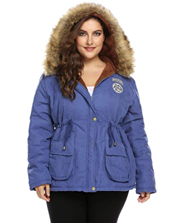 58f4f44555b IN VOLAND Women s Plus Size Parkas Jacket Hooded Winter Coats Faux Fur Coat  Outdoor Military