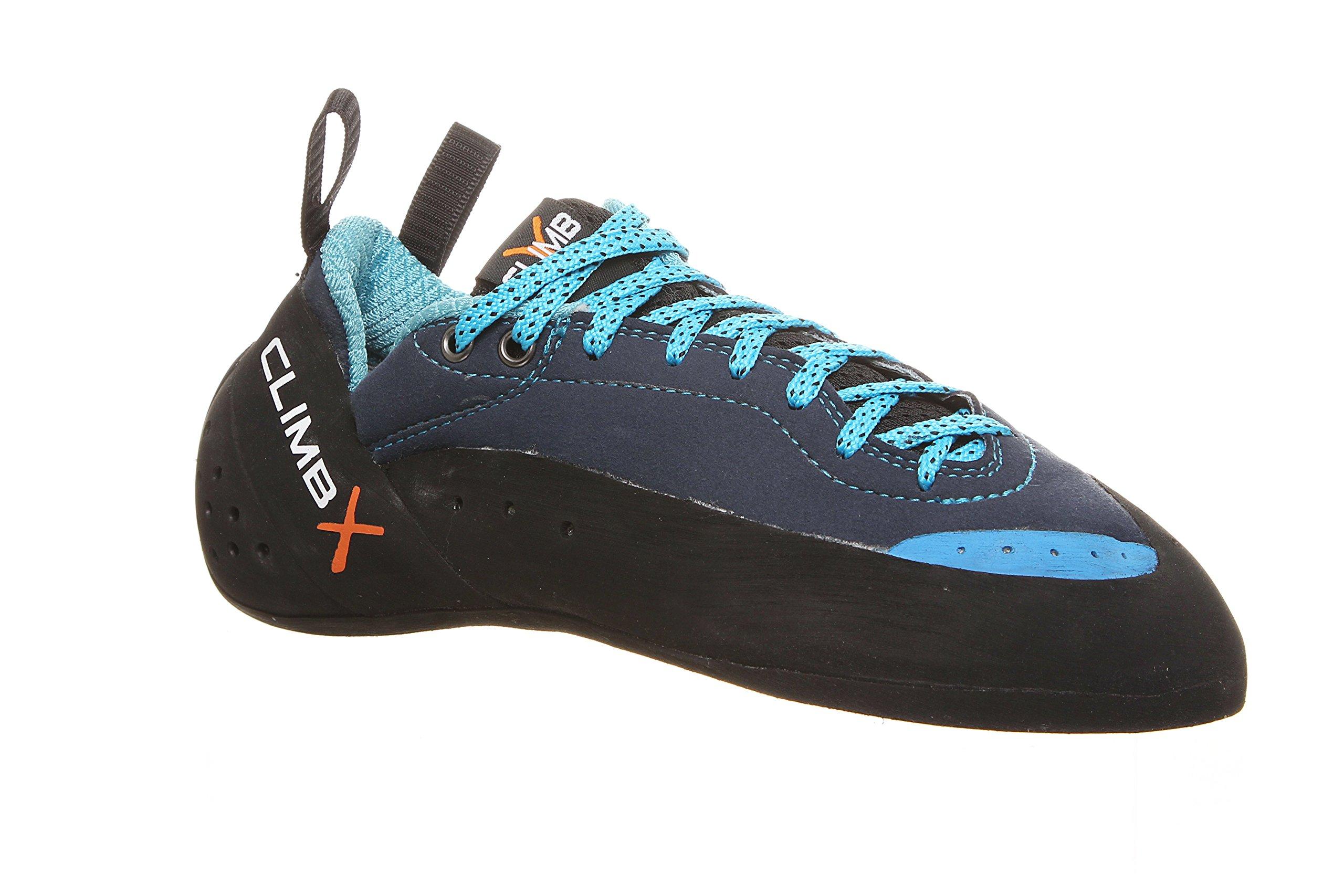 Climb X Crush Lace Climbing Shoe with FREE Sickle M-16 Climbing Brush (Men's 8, Blue)
