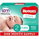 Huggies Infant Nappies, Unisex, Size 2 (4-8kg), One Month Supply, 192 Count, (Packaging May Vary)