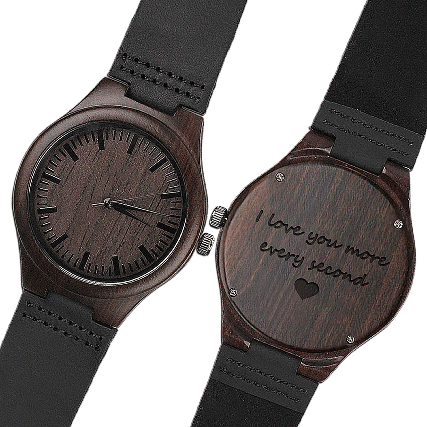 KOSTING Wood Watches for Men Black Leather Strap Wristwatches Genuine Leather Band with Gift Box - I Love You More Every Second - Personalized Gifts for Men Husband Gift