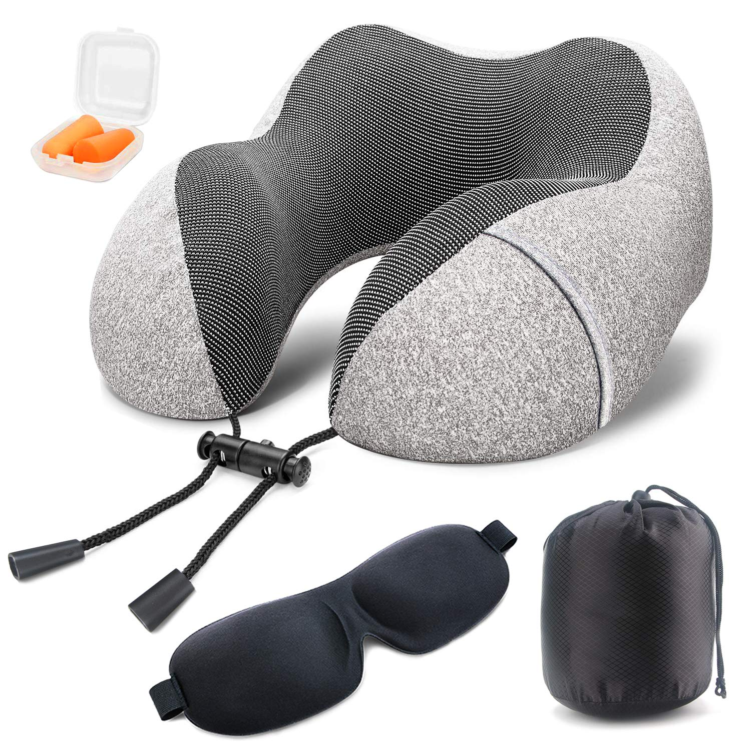 Soft Digits Memory Foam Travel Pillow, Neck Pillow Travel Kit with 3D Contoured Eye Masks, Earplugs and Storage Bag…