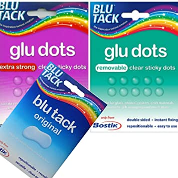 Blu Tak Glu Dots Removable Clear Double Sided Sticky Dots Repositionable 64 Dots