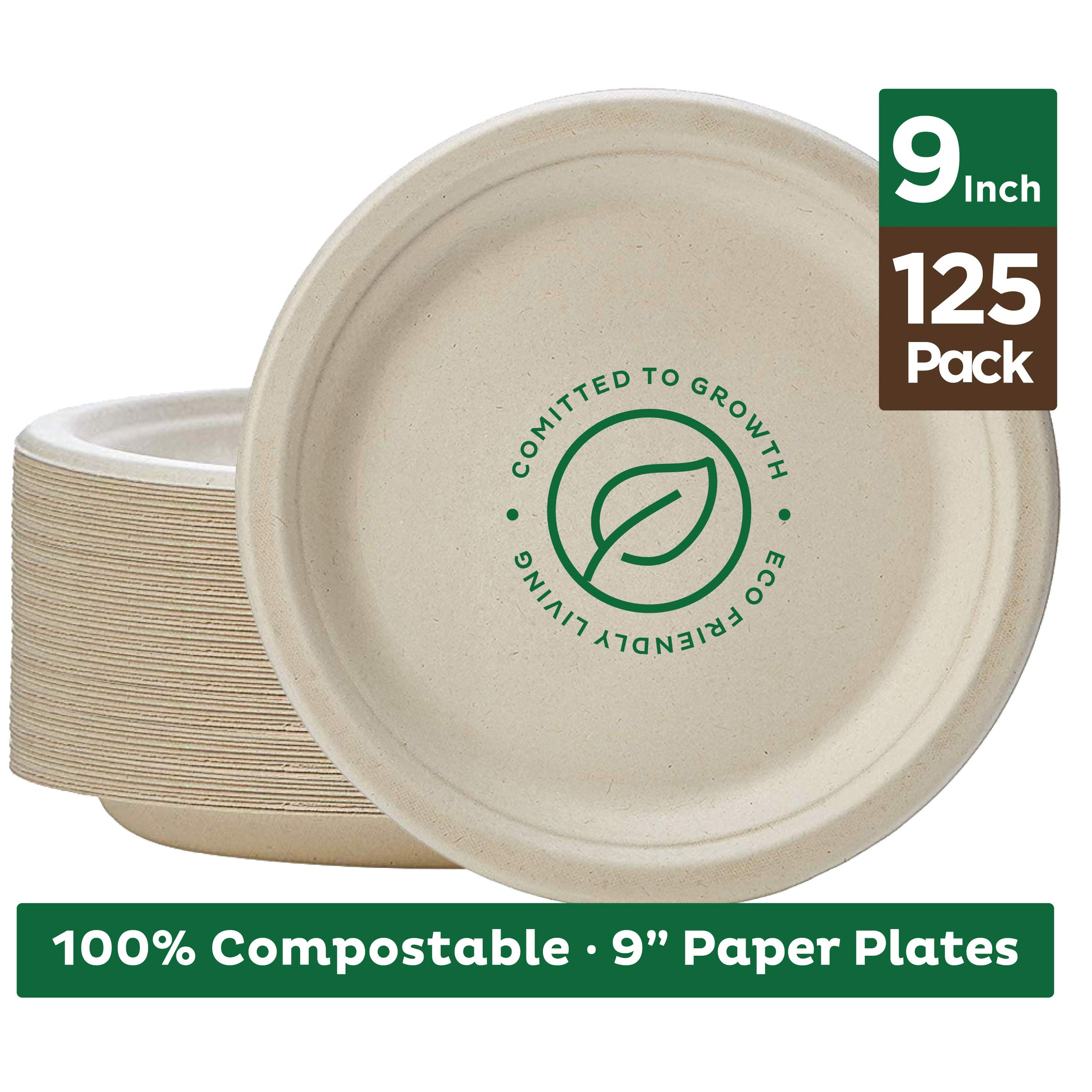 Stack Man 100% Compostable 9'' Paper Plates [125-Pack] Heavy-Duty Quality Natural Disposable Bagasse, Eco-Friendly Made of Sugar Cane Fibers, 9 inch, Brown