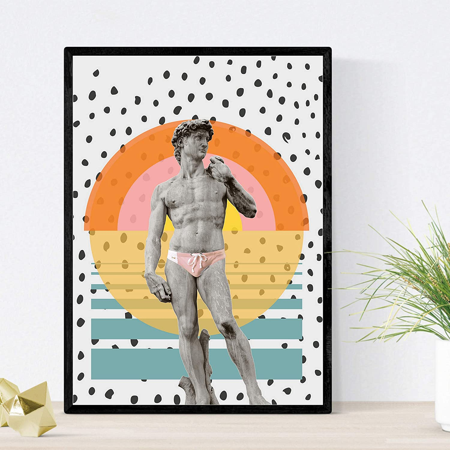 Nacnic Prints David on The Beach - Set of 1 - Unframed 11x17 inch Size - 250g Paper - Beautiful Poster Painting for Home Office Living Room