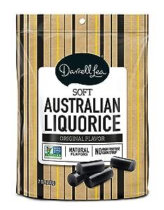 Soft Australian Black Licorice - Darrell Lea 7oz Bag - NON-GMO, NO HFCS, Vegetarian & Kosher - America's #1 Soft Eating Licorice Brand!