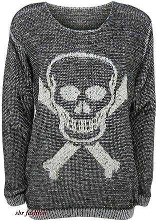 Womens Owl Skull Bones Cross X Print Top Ladies Charcoal Knitted Jumper Sweater