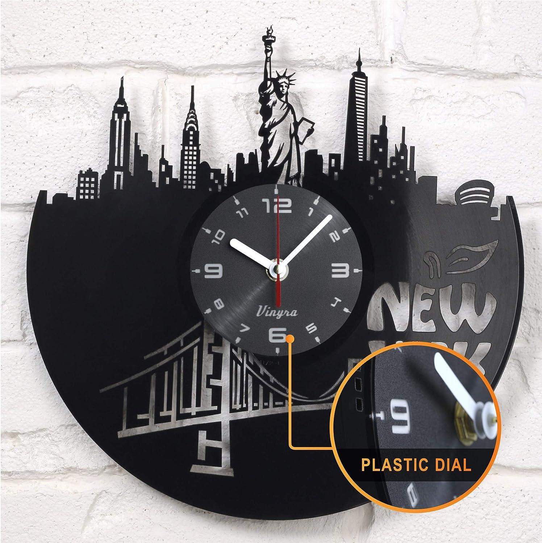 New York NY Vinyl Clock - New York Wall Decor - New York Gift Art Decor for Living Room Statue of Liberty Modern Art Gift for Men Women Birthday Record Clock New York City Home Decor Design Black