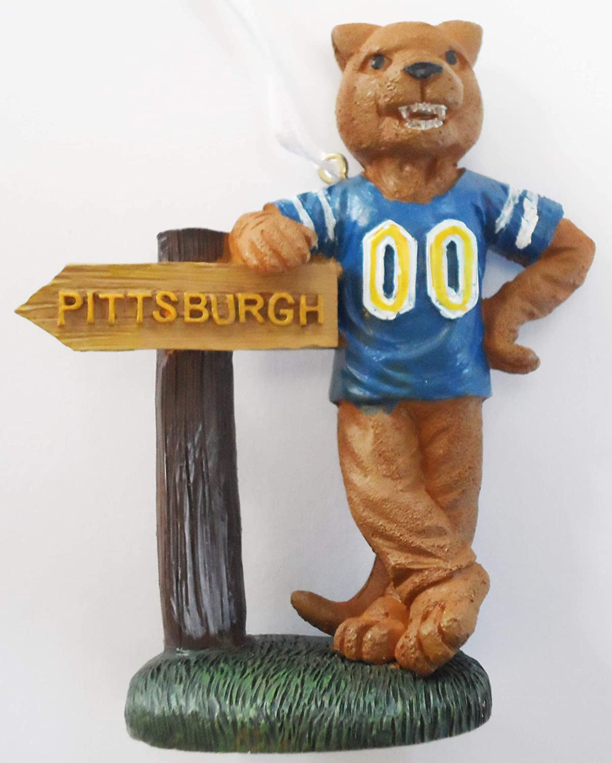 Pittsburgh Panthers Mascot with Pittsburgh Sign Ornament