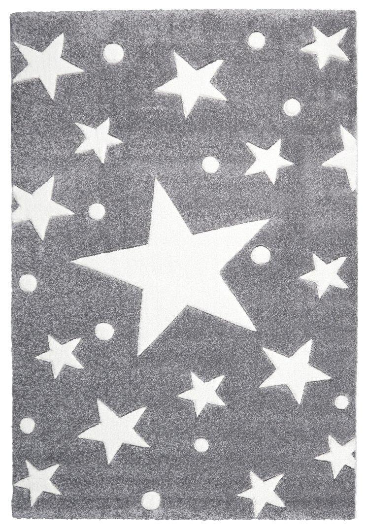 Livone Hochwertiger Kinderteppich Babyteppich Kinderzimmer Spielteppich mit Sternen und Punkten in Silbergrau Weiss Größe 160 x 230 cm