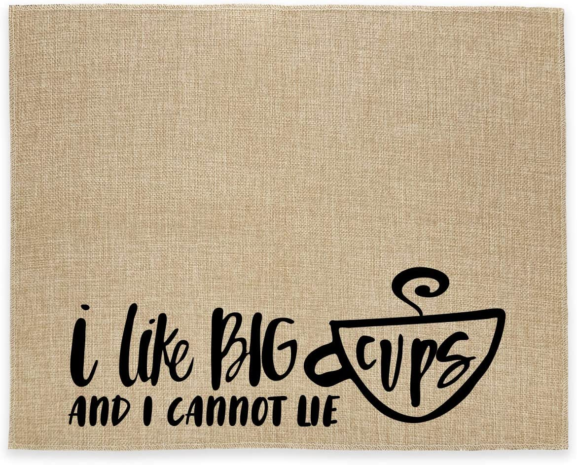 chillake Rustic Burlap Coffee Bar Mat - Funny Coffee Lovers Gifts - Vintage Placemat Easy to Clean - Natural Jute Coffee Maker Mat for Coffee Bar Home Decor Parties Daily Use(14x17 Inches)