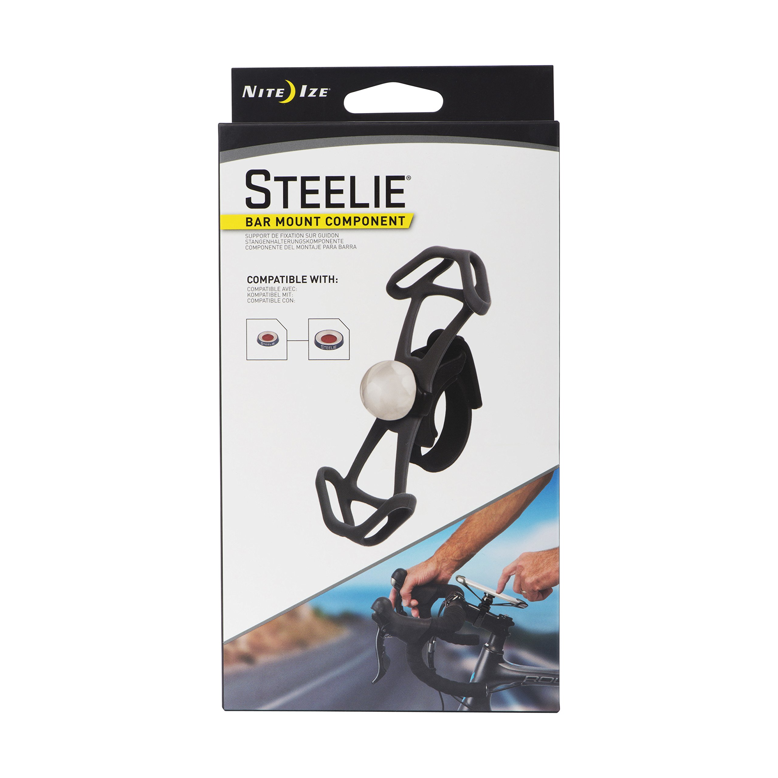 Nite Ize Original Steelie Bar Mount - Magnetic Smartphone Mount for Handlebars, Ideal for Bikes, Motorcycles, Strollers
