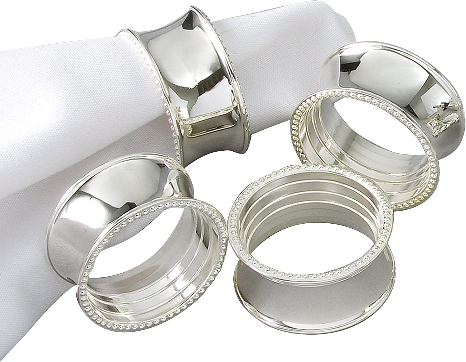 Amazon Com Elegance Tableware Beaded Round Napkin Rings Silver Plated Set Of 4 Dia 3 5cm Kitchen Dining
