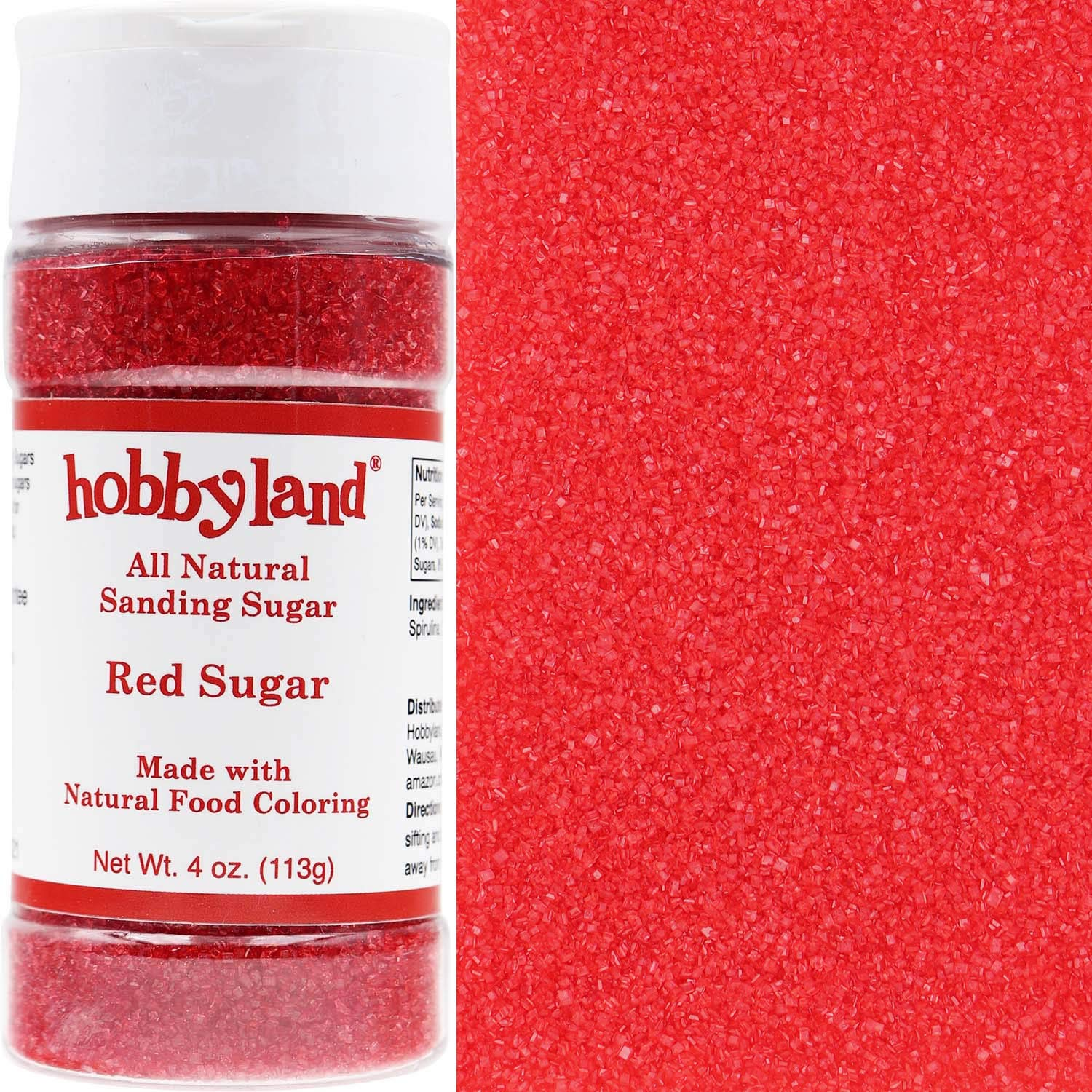 Hobbyland Sanding Sugar (Red Sugar, 4 oz) Handcrafted with All Natural Food Coloring