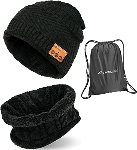 Wireless Beanie – Wireless Headphones Hat and Scarf Set for Winter Outdoor Men Women Warm Knitted Music Hat Black MZ026