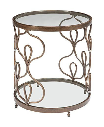 Ashley Furniture Signature Design   Fraloni Traditional Round Glass Top End  Table   Bronze Finish