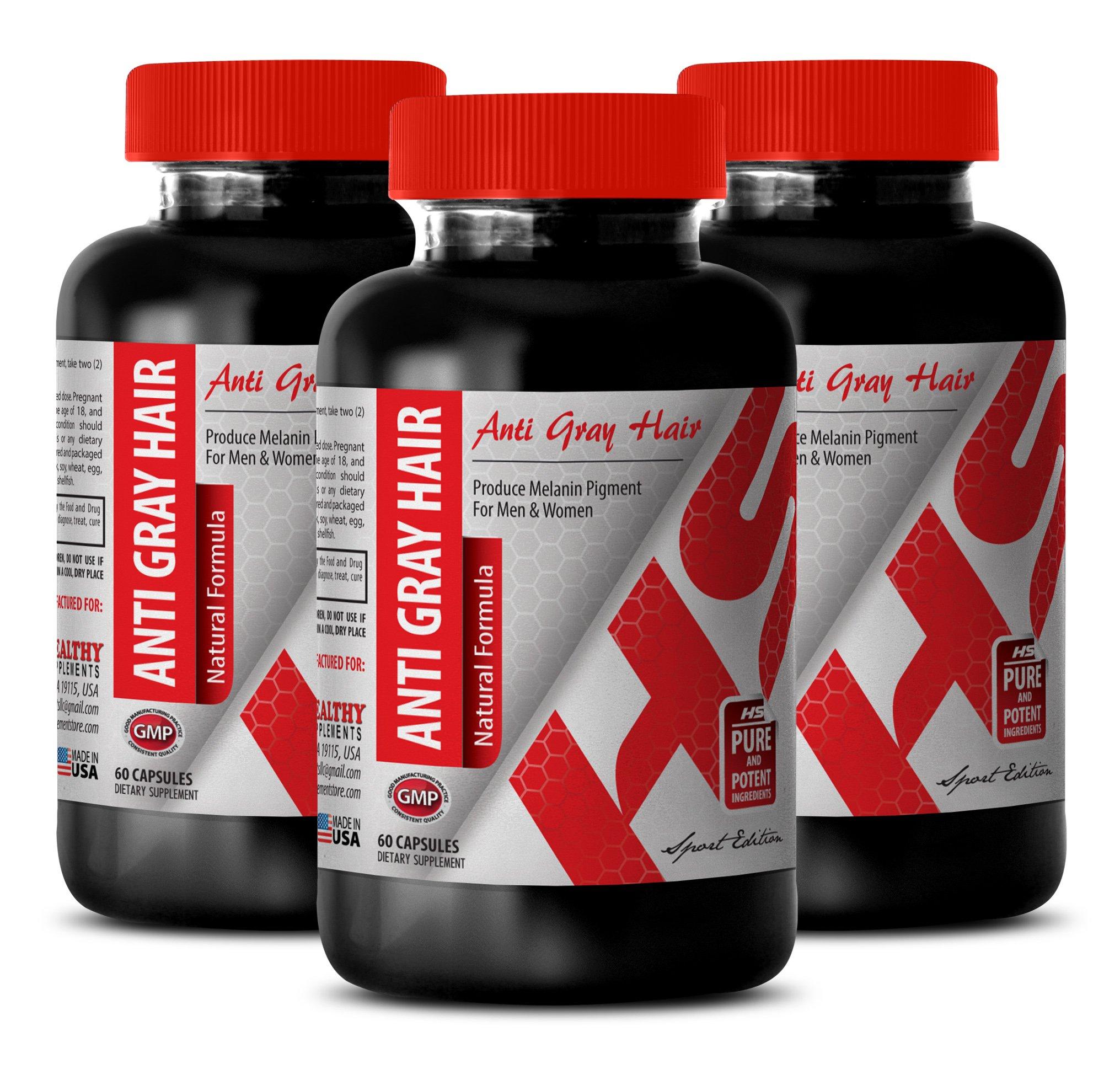 rejuvenation supplement - ANTI-GRAY HAIR 1200MG - NATURAL FORMULA - nettle leaf capsules - 3 Bottles (180 Capsules)