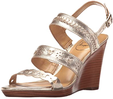c4369300737e Jack Rogers Women s Arden Wedge Sandal Platinum 6.5 Medium US