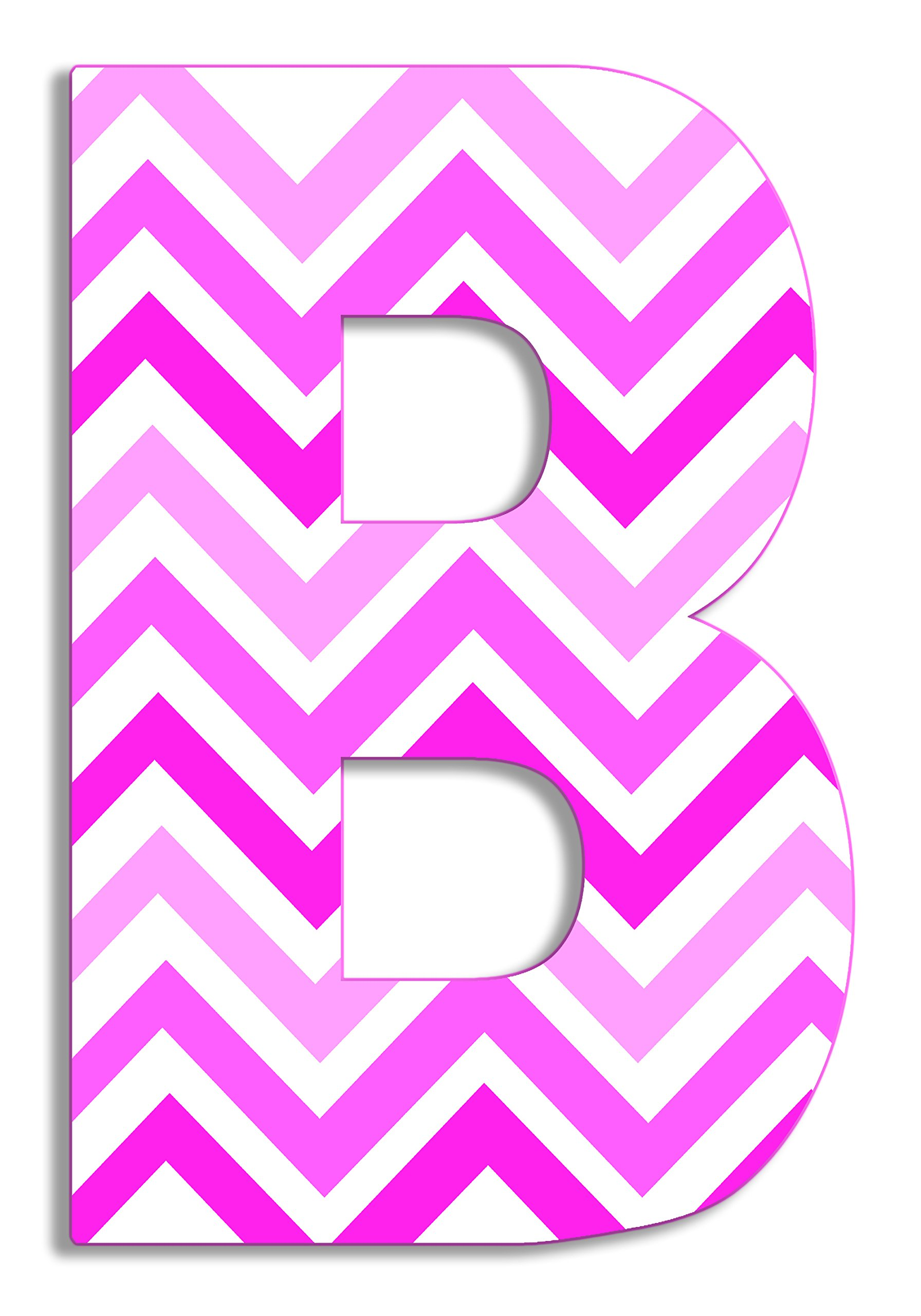 Stupell Home Décor Tri-Pink Chevron 18 Inch Hanging Wooden Initial, 12 x 0.5 x 18, Proudly Made in USA by The Kids Room by Stupell