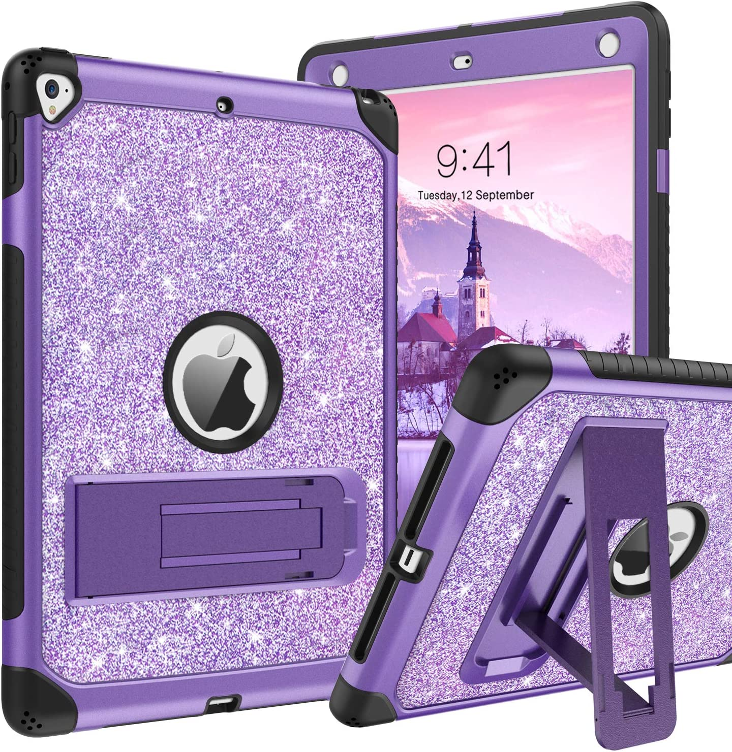iPad 9.7 Case 2017/2018,iPad Air 2 Case,iPad 6th/5th Generation Case with Kickstand,DUEDUE Glitter Bling 3 in 1 Heavy Duty Hard PC Cover Shockproof Full Protective Case for iPad Pro 9.7,Purple