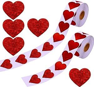 Trounistro 1000 Pieces Valentine's Glitter Heart Stickers for Valentine's Day Decorations , 2 Rolls