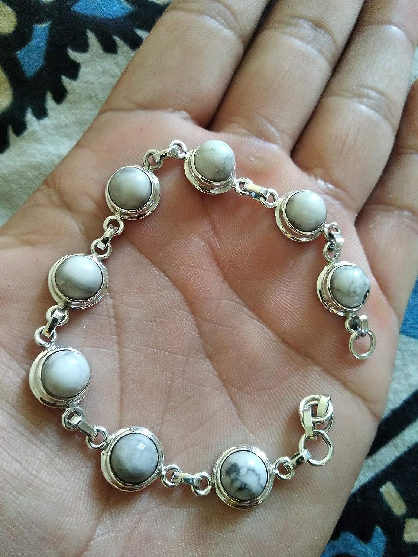 Howlite Gemstone Handmade Bracelet sterling silver