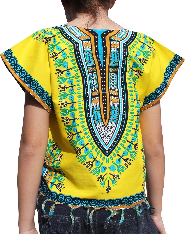 Raan Pah Muang RaanPahMuang Bright Africa Colour Shirt Childs Dashiki Decorated with Tassel