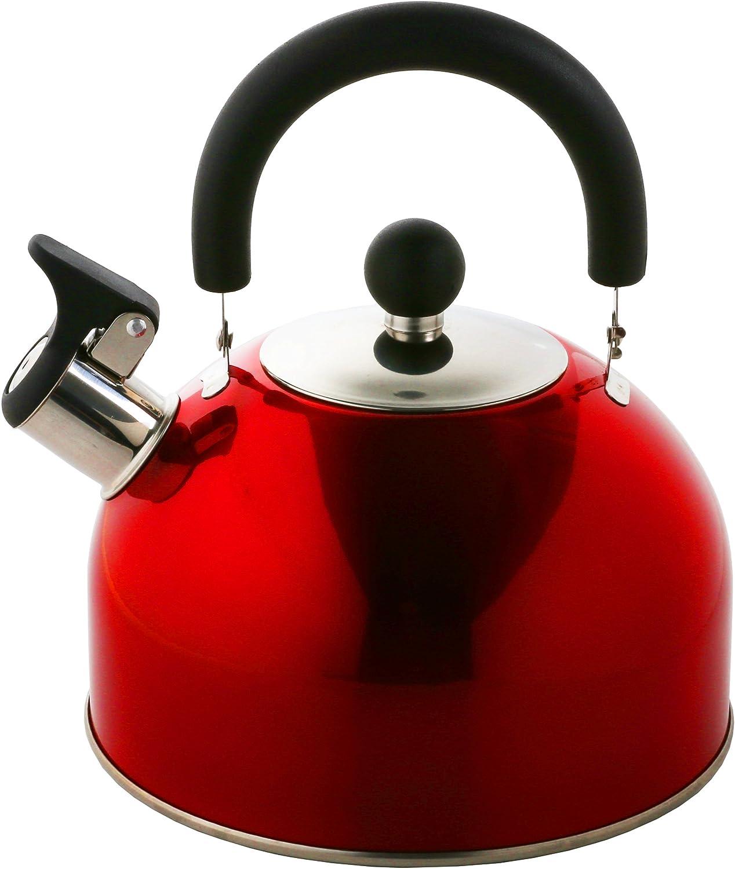 marca Krollmann acero inoxidable 2,5 Litros hervidor de agua hervidor de agua de silbato acero inoxidable hervidor de t/é 2,5 litros Hervidor de silbato en distintos colores Negro