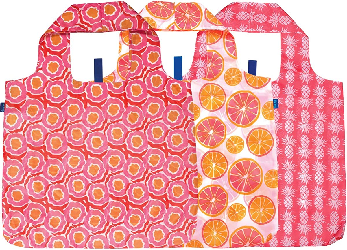 rockflowerpaper Tropical Pineapple Pink Orange Floral Blu Bag Pack of 3 Reusable Grocery Shopping Bag, Eco-friendly Convenient Machine Washable Everyday Totes
