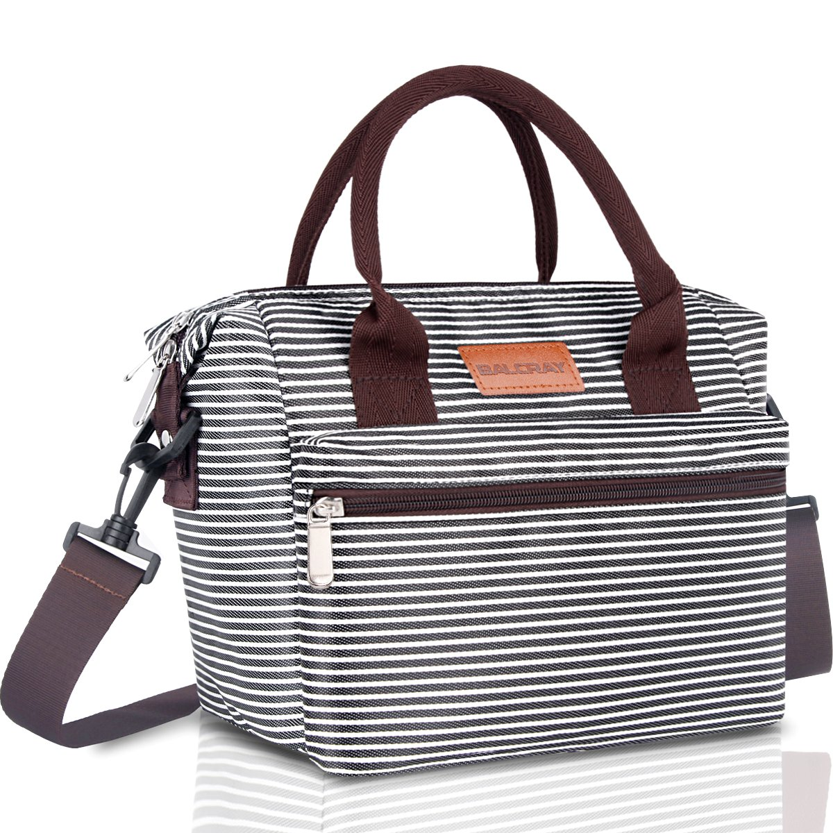 BALORAY Lunch Bag for Women Insulated Lunch Box with Adjustable Shoulder Strap, Water-Resistant Leakproof Cooler Lunch Tote Bag for Work/School/Picnic(Black& White Strip )