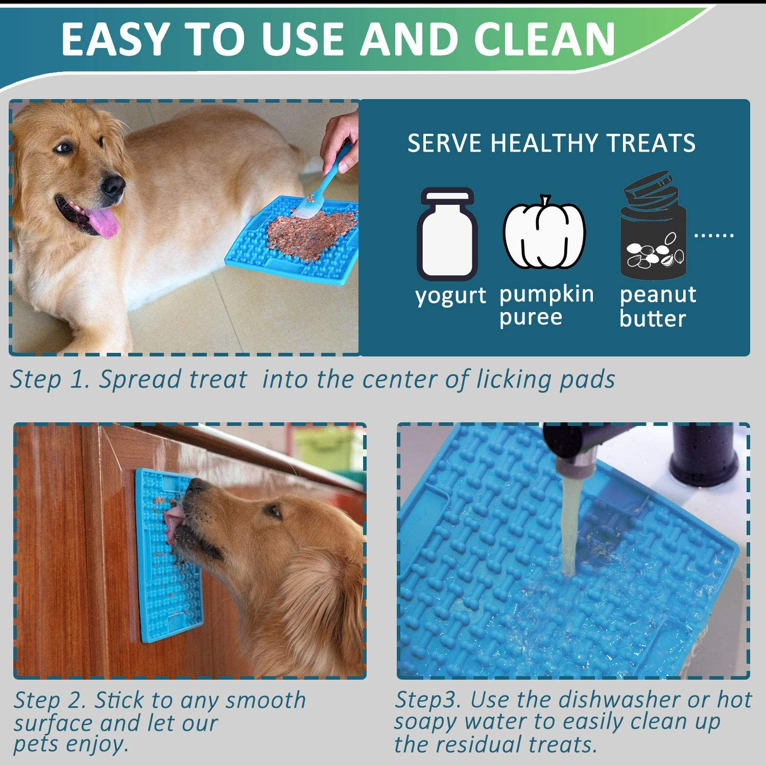 Slow Feeder Licking Pads for Pet Bathing Treats and Training Yogurt or Peanut Butter 7SUOKITO 2 Pack Dog Lick Mats with a Silicone Spreader Grooming Boredom Buster Ideal for Dog Food