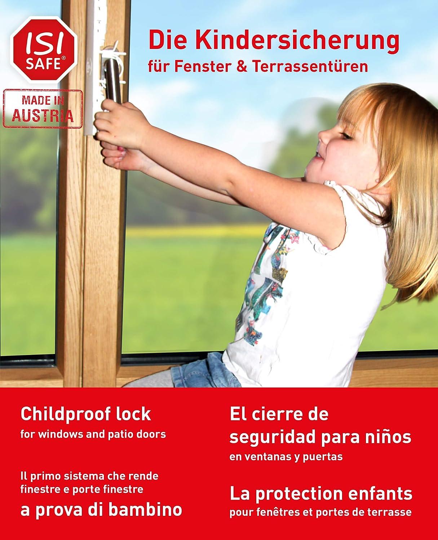 iSi Safe–Starter Set 12piezas con niños Mochila Azul–Ventana–Asegura para ventanas y balcones también en condiciones de gekippten.–La única en el mundo TÜV certificado y con seguridad infantil para ventanas, puertas Balcón de y terrazas–Herramie