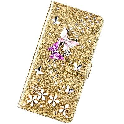 Urhause Funda Compatible con Samsung Galaxy A20e.KunyFond Cuero Mariposa Brillo Diamantes Carcasa Case PU Flip Billetera Ranura para Tarjeta Cierre Magnético Protectora Función de Soporte Bumper,Oro: Electrónica