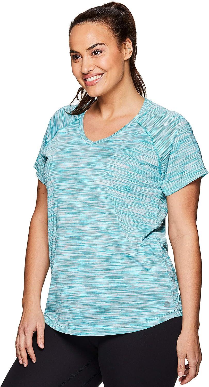 RBX Active Women's Plus Size Yoga Workout Short Sleeve V-Neck Tee Shirt