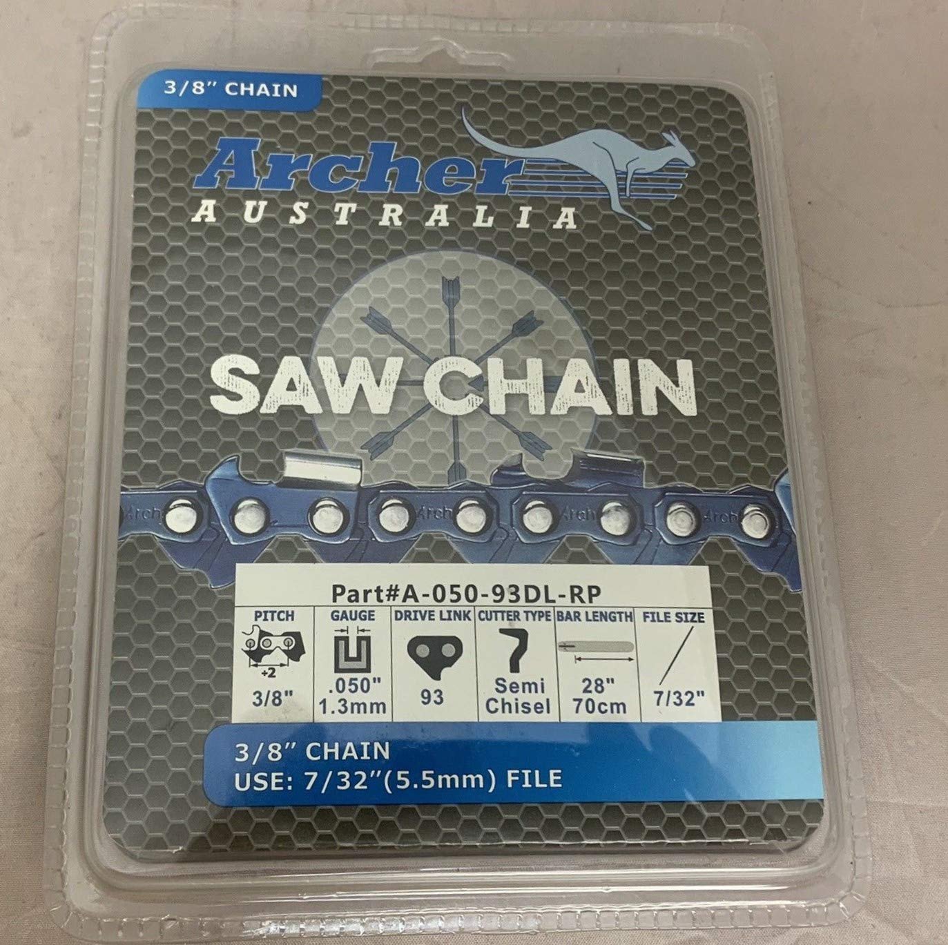 Archer 28'' 3/8-050-93DL Ripping Chainsaw Chain Replaces 72RD093G A1EP-RP-93E